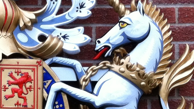 Close up of the Hand Painted Unicorn on a GRP Royal Warrant Coat of Arms