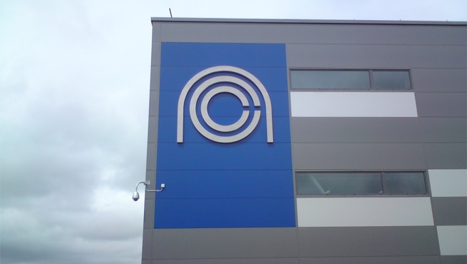 Built up Stainless Steel National Composites Centre Logo