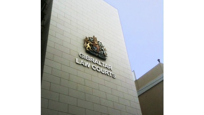 Gibraltar Law Court's Royal Coat of Arms and Lettering