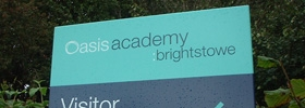 Cose up of the External Post Mounted Signage for Oasis Academy, Brighstowe, Bristol