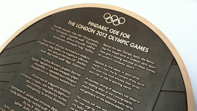 Sign cast in solid bronze made for the Olympic Games 2012