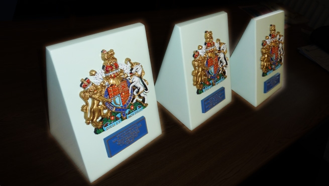 Cast Aluminium Royal Warrants on Aluminium Stands