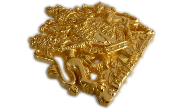 Royal Coat of Arms for HM The Queen in Gold Leaf
