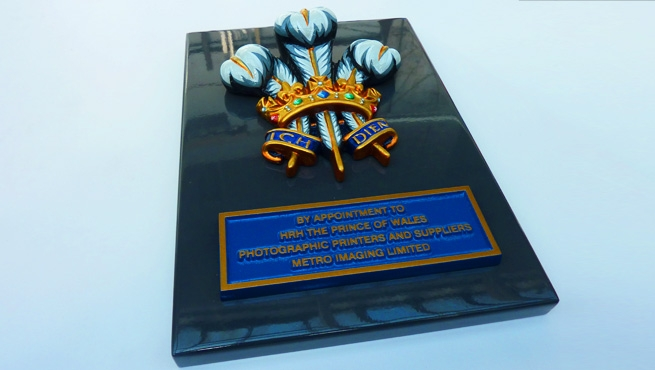 Royal Warrant Coat of Arms - Photo Showing Finish on Folded Aluminium Backing Tray