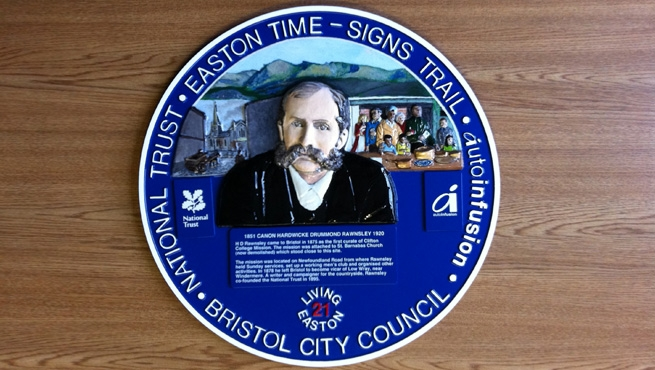 Bristol Signs Trail - Easton Time - Hand Painted, Blue Heritage Plaque