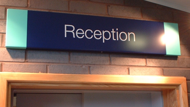 Oasis Academy internal reception signage
