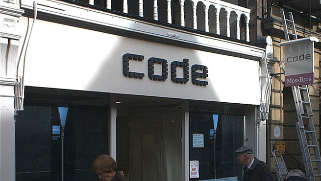 Bespoke Built up Sign for Code.  Made from many individual blocks