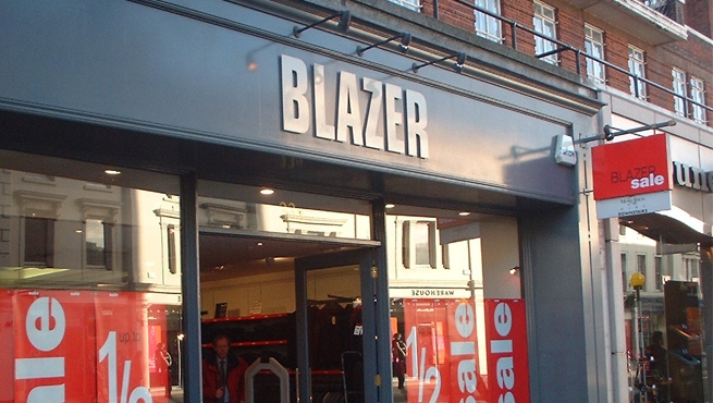Shop Front Fascia Sign - Blazer Retail