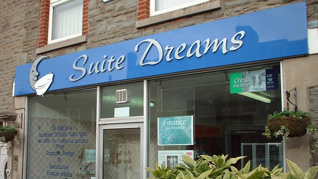 Cut Out Lettering on Shop Sign - Suite Dreams