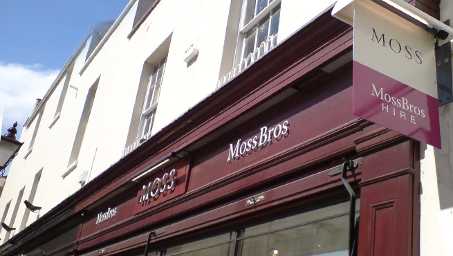 Shop Fascia Signage for Moss Bross