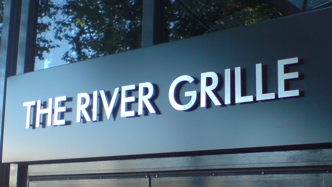Bristol's The River Grille, Built up Lettering on Sign