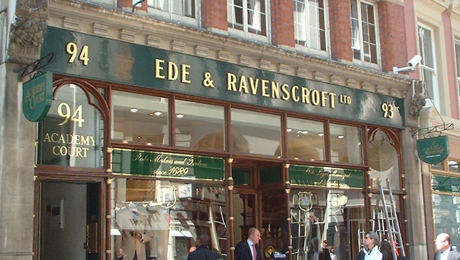 Shop Sign - Cast Aluminium with Gold Leaf Finish - Ed & Ravenscroft London