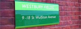 Trapezoid Stylized Bespoke Signage for Westbury Fields Retirement Home, Bristol