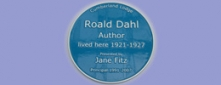 Cast Aluminium Blue Heritage Plaque for Roald Dahl