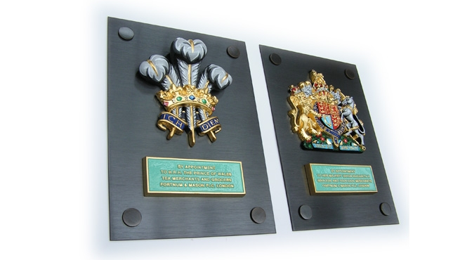 Royal Coats of Arms Mounted on Bronze Plates