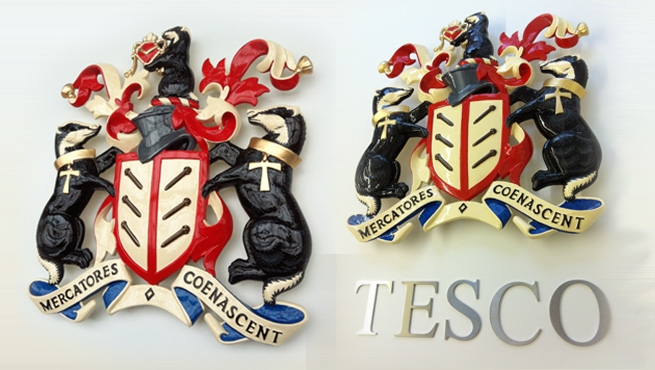 Tesco Coats of Arms with Cut Out Lettering - Mercatores Coenascent