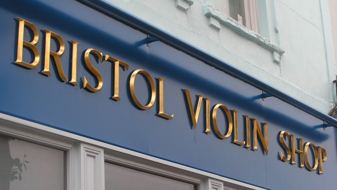 Bristol Violin Shop Sign - Cast Resin Letters with Gold Leaf Gilding