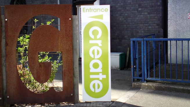 Monolith Sign next to Corten Steel Letter G - Create Centre in Bristol City Council