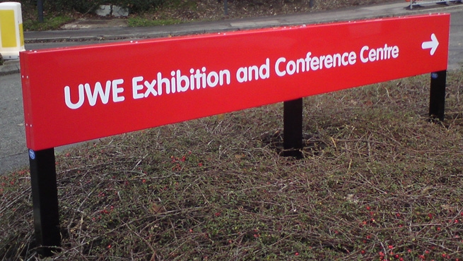 Long Post Mounted Tray Sign for UWE Exhibition and Conference Centre