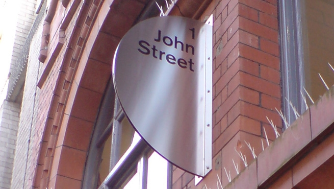 Stainless Steel Projecting Sign, 1 John Street, Bristol