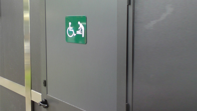 Facilities Door Signage Screen Printed, Alluminium Panel - Accessible Toilet