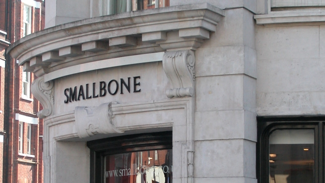 Smallbone - Cast Bronze lettering in V Section Roman Font