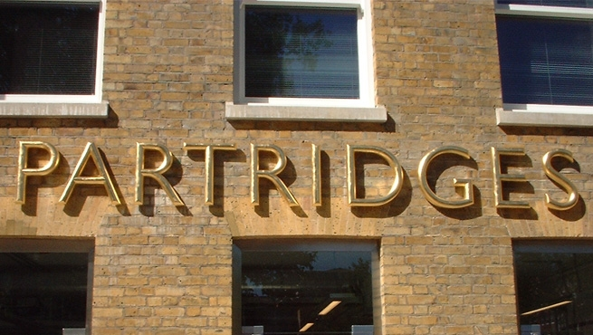 Half Round Gold Leaf Resin Lettering - Partridges
