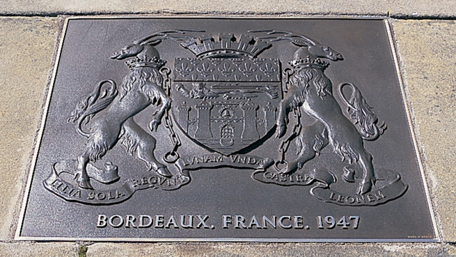 Bordeaux, France, 1947, Commemorative Bronze Plaque
