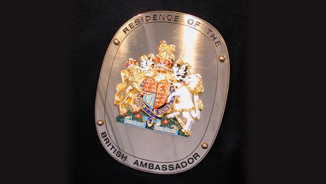 Ambassadorial Stainless Steel Plaque with the Royal Coat of Arms