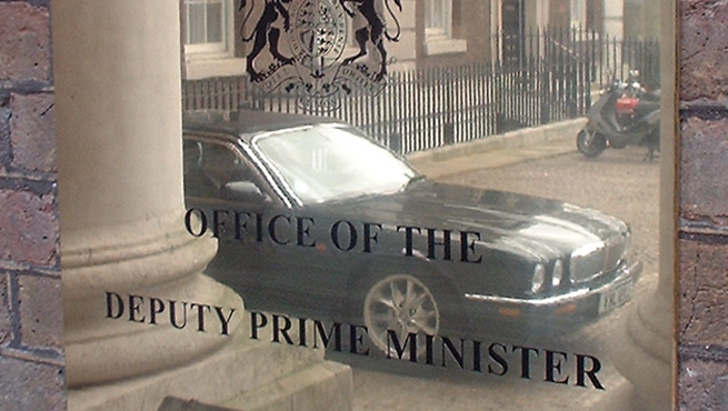 Close up of Polished Stainless Steel Plaque on the Deputy Prime Minister's Office