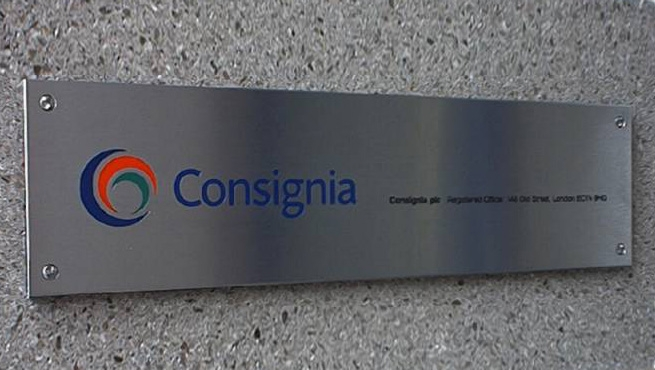 Satin Plaque for Consignia with logo