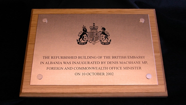 Satin Finish Stainless Steel Plaque on Wooden Plinth with Coverhead Screws