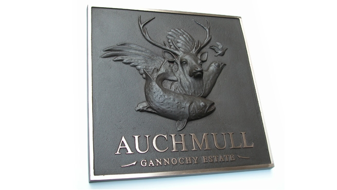3d Modelled Bronze Plaque with bare metal lettering - Auchmull Gannochy Estate