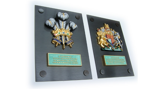 Fortnum and Mason Royal Warrant Coats  -  Bronze Plinths with Cast Aluminium Citation Plates