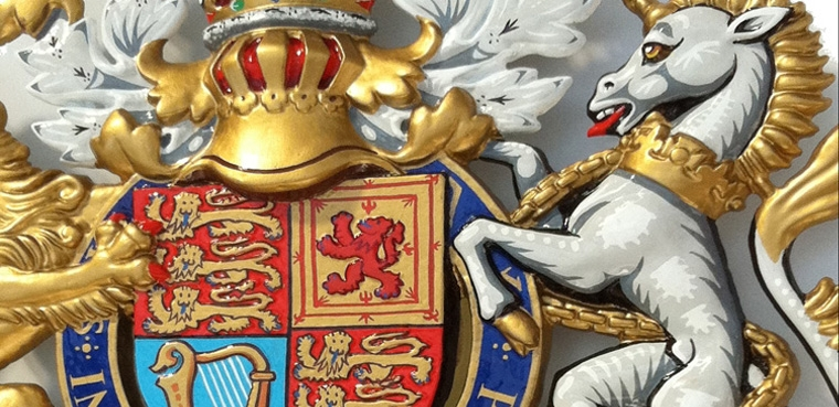 Royal Warrant Coats of Arms, Crest and Citation Plaques, Hand Painted and Gold Leaf Gilded