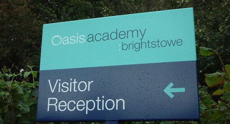Oasis Academy wayfinding external signage