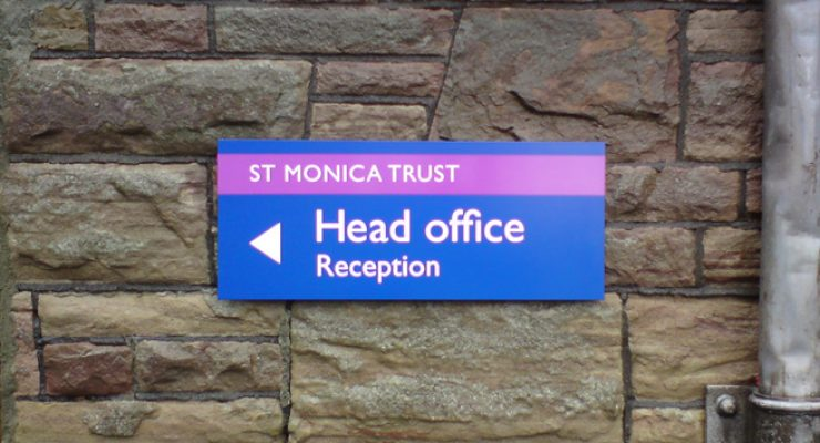 St Monica's Trust external wall-mounted wayfinding signage