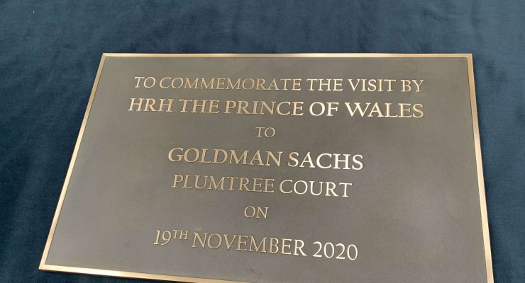Cast Bronze Plaque for Goldman Sachs at Plumtree Court with Linished Text & Border