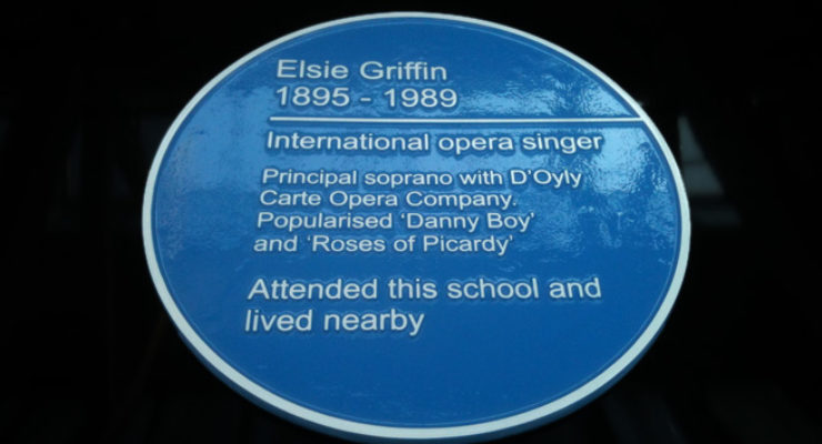 Cast Aluminium Stove Enamelled Blue Heritage Plaque Commemorating Elsie Griffin