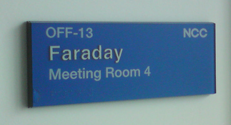 Customised Tactile Room Signage - Faraday Meeting Room 4