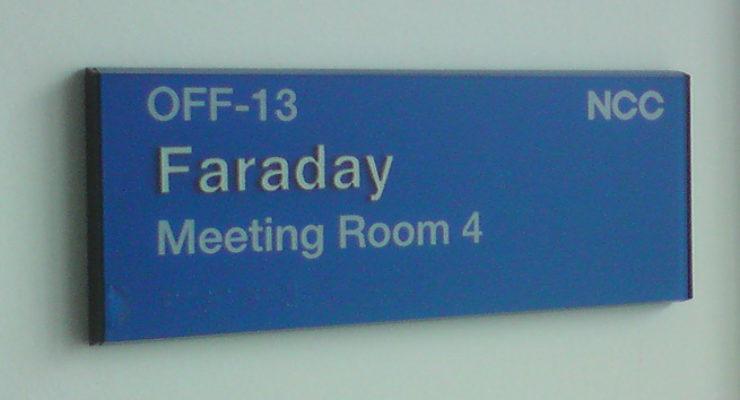 Customised Tactile Room Signage - Faraday Meeting Room 4