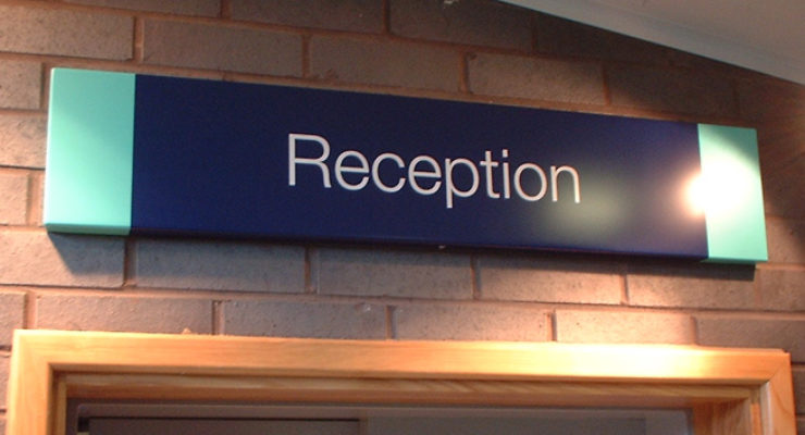 Reception Sign in the Main Foyer - Bristol Oasis Academy