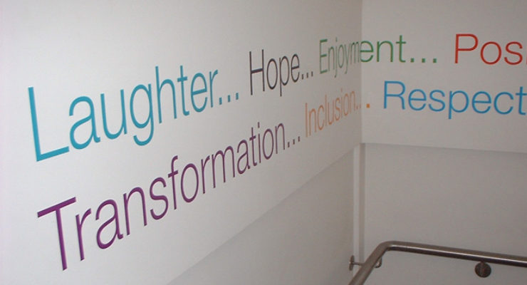 Vinyl Lettering in Stair Well