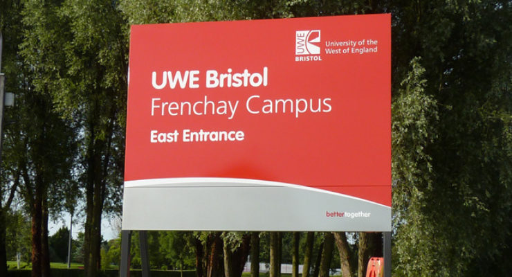 Post Mounted Sign for UWE, Bristol - Frenchay Campus