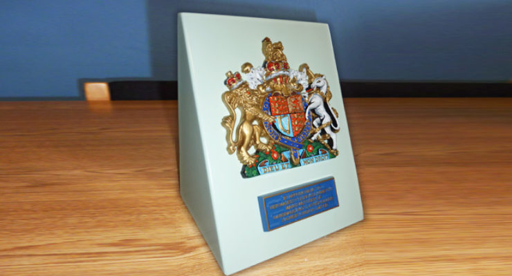 Royal Warrant Coat of Arms on Bespoke Aluminium Signage Stand