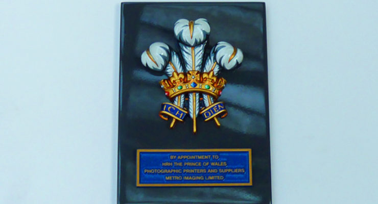 Hand Painted Royal Warrant Crest and Cast Aluminium Citation Plaque