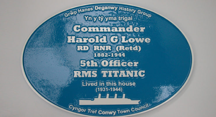 Blue Plaque for Harold G Lowe, RMS Titanic, Conwy Council