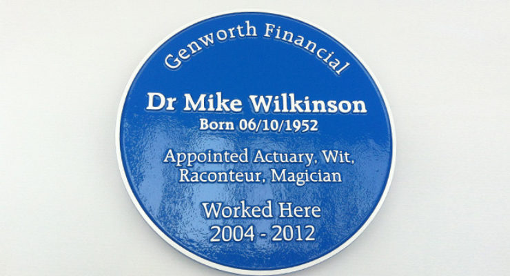 Blue Heritage Plaque for Dr Mike Wilkinson - Genworth Financial