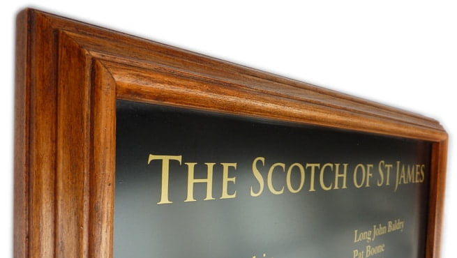 Wooden Framed Sign - The Scotch of St James - Alumni Board