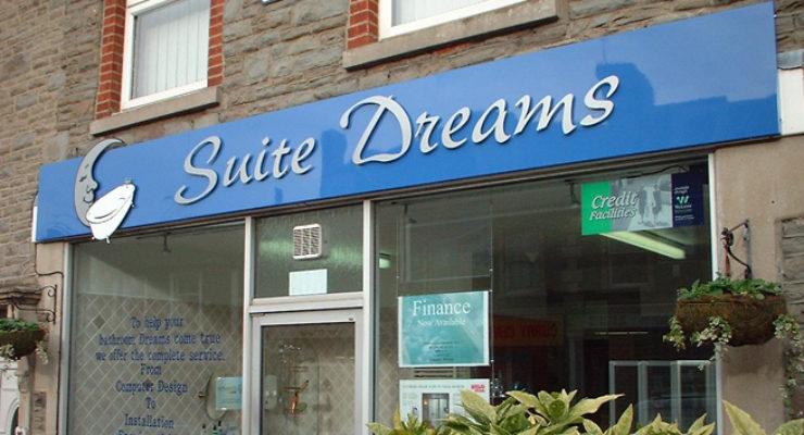 Cut Out Lettering on Shop Sign - Suite Dreams